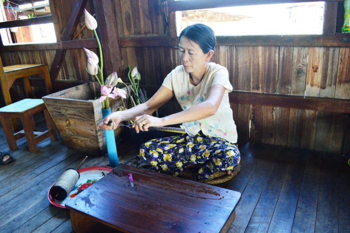 Lotusseide wird von Hand gesponnen